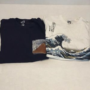 Lot of 2 size small Uniqlo Hokusai blue T-shirt's